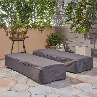 Shield Gray Fabric Chaise Lounge Cover (Set of 2)