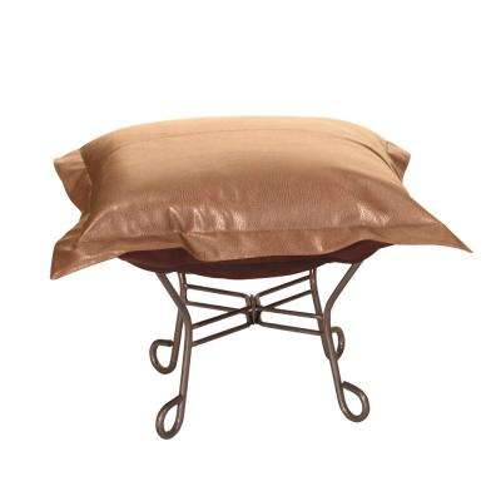 Avanti Brown Bronze Scroll Puff Ottoman
