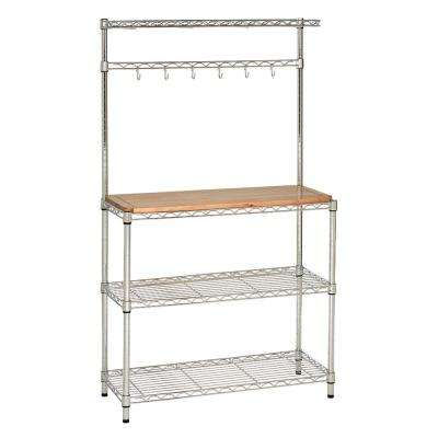 36 in W x 14 in D x 63 in H, Steel Baker's Rack for Kitchens with Solid Wood Top