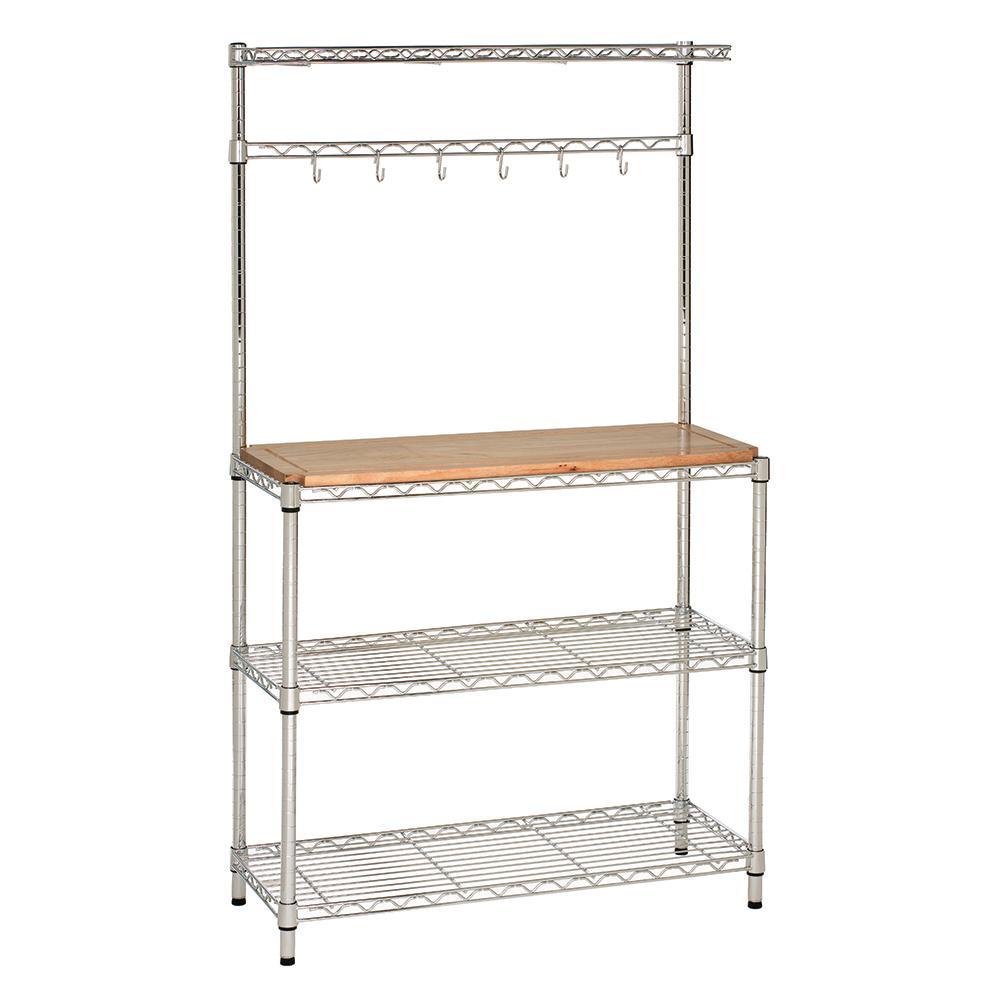 36 in W x 14 in D x 63 in H, Steel Baker's Rack with Solid Wood Top