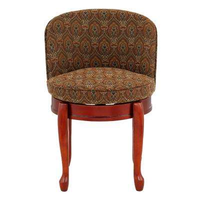 Delmar Tapestry High Back Swivel Vanity Stool