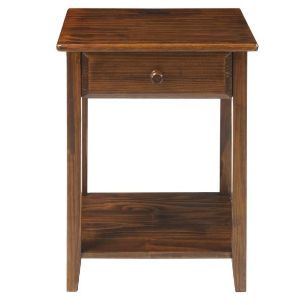 Casual Home Night Owl Warm Brown Nightstand with USB Port