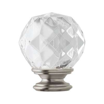 Mix and Match 1 in. Faceted Crystal Sphere Curtain Rod Finial in Brushed Nickel (2-Pack)