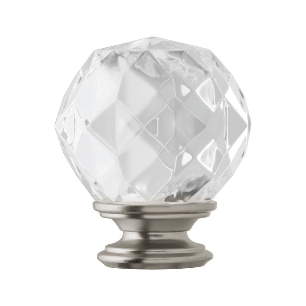 1 in. Faceted Crystal Sphere Finial in Brushed Nickel (2-Pack)