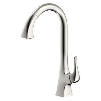 Varenne Single Handle Single Hole Pull-Down Sprayer Kitchen Faucet in Brushed Nickel