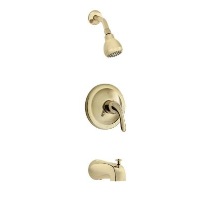 Builders Single-Handle 1-Spray Tub and Shower Faucet in Polished Brass (Valve Included)