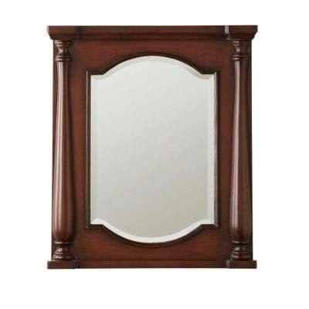 W framed wall mirror in brown