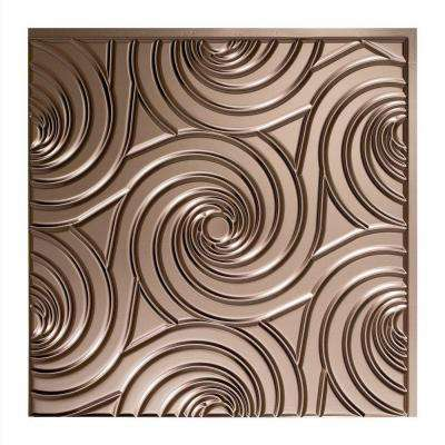 Typhoon - 2 ft. x 2 ft. Vinyl Glue-Up Ceiling Tile in Brushed Nickel