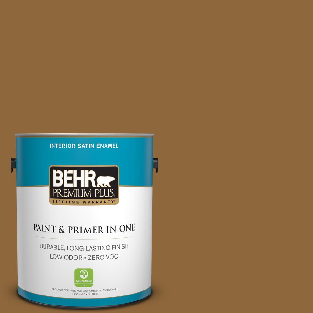 1-gal. #300D-7 Spanish Leather Zero VOC Satin Enamel Interior Paint