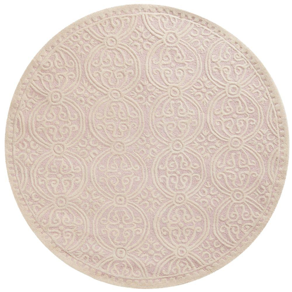 Safavieh Cambridge Light Pink/Ivory 4 Ft. X 4 Ft. Round Area Rug