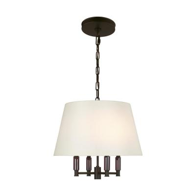 Lismore 4 -Light Oil Rubbed Bronze Pendant with Ivory Shade