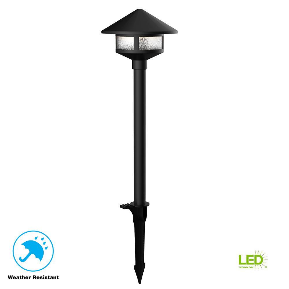 Low-Voltage Black Outdoor Integrated LED Landscape Path Light