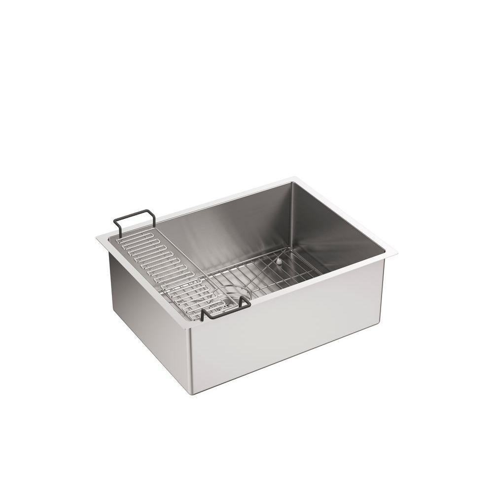 Strive Undermount Stainless Steel 24 in. Single Bowl Kitchen Sink Kit