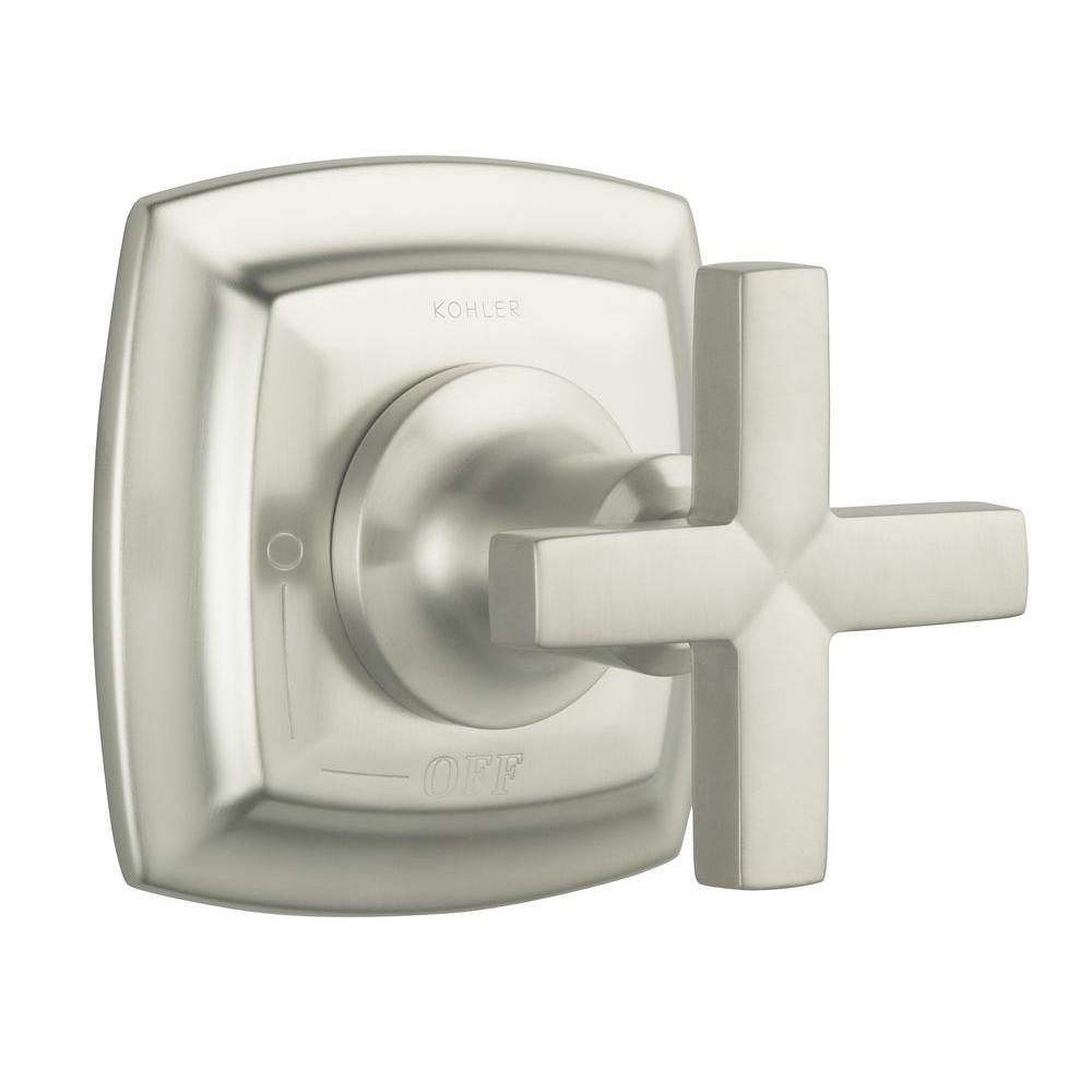 KOHLER Margaux 1-Handle Volume Control Valve Trim Kit in Vibrant Brushed Nickel with Cross Handle (Valve Not Included)