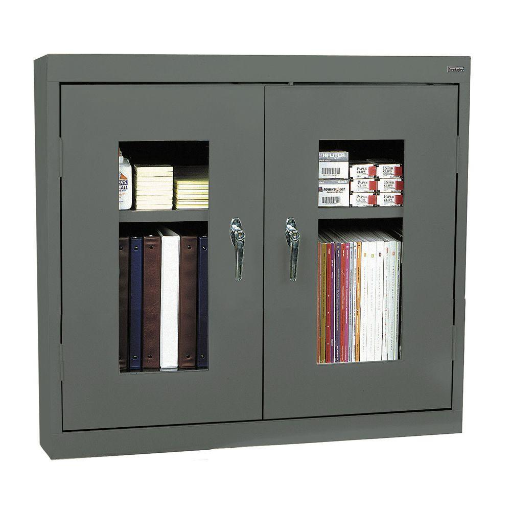 Sandusky 30 in. H x 36 in. W x 12 in. D Clear View Wall Cabinet in Charcoal