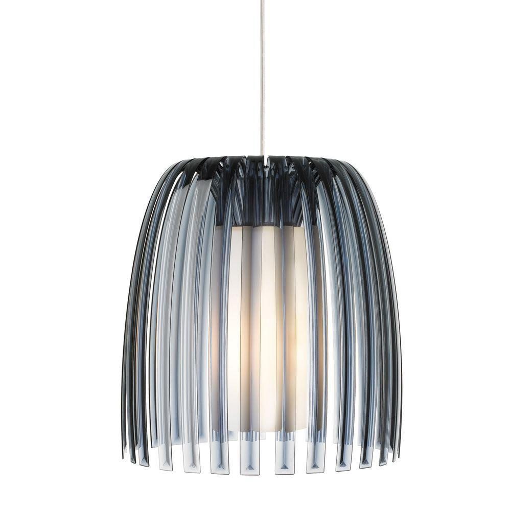 LBL Lighting Olivia 1-Light Satin Nickel Pendant with Smoke Shade