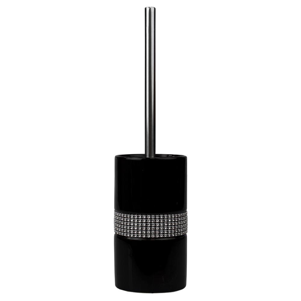 Sequin Accented Black Ceramic Luxury Hideaway Toilet Brush Holder with Steel Handle