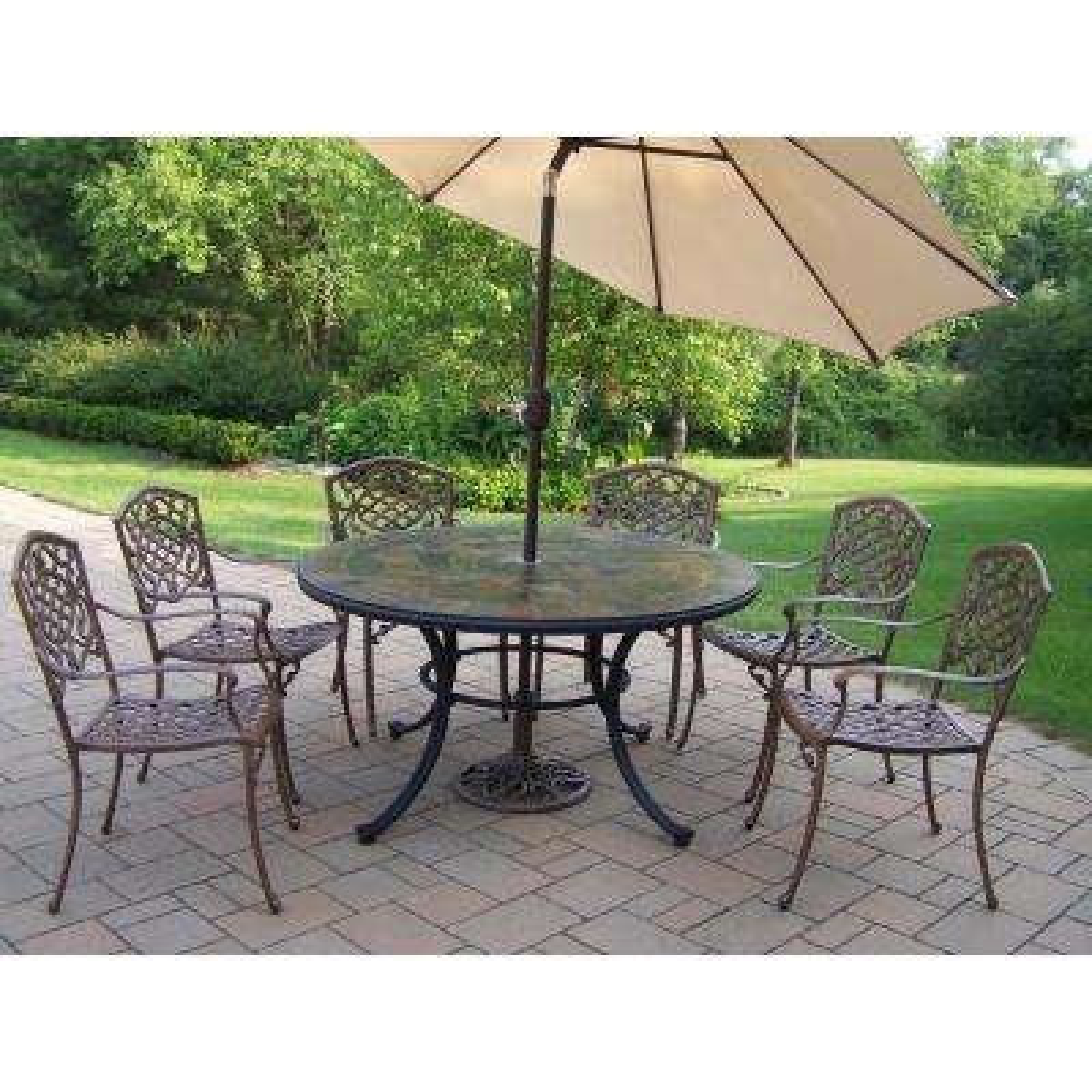 9 Piece Aluminum Outdoor Dining Set With Beige Umbrella