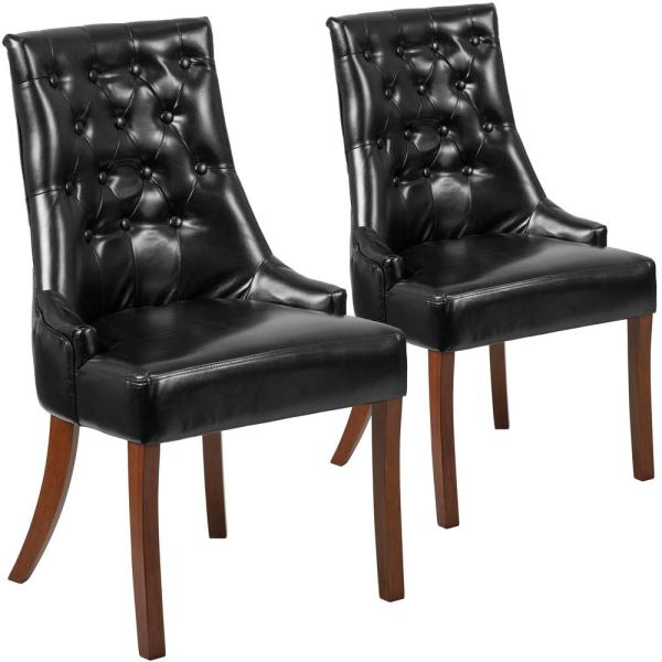 Carnegy Avenue Black Leather Leather Side Chair (Set of 2) CGA-QY-225938-BL-HD