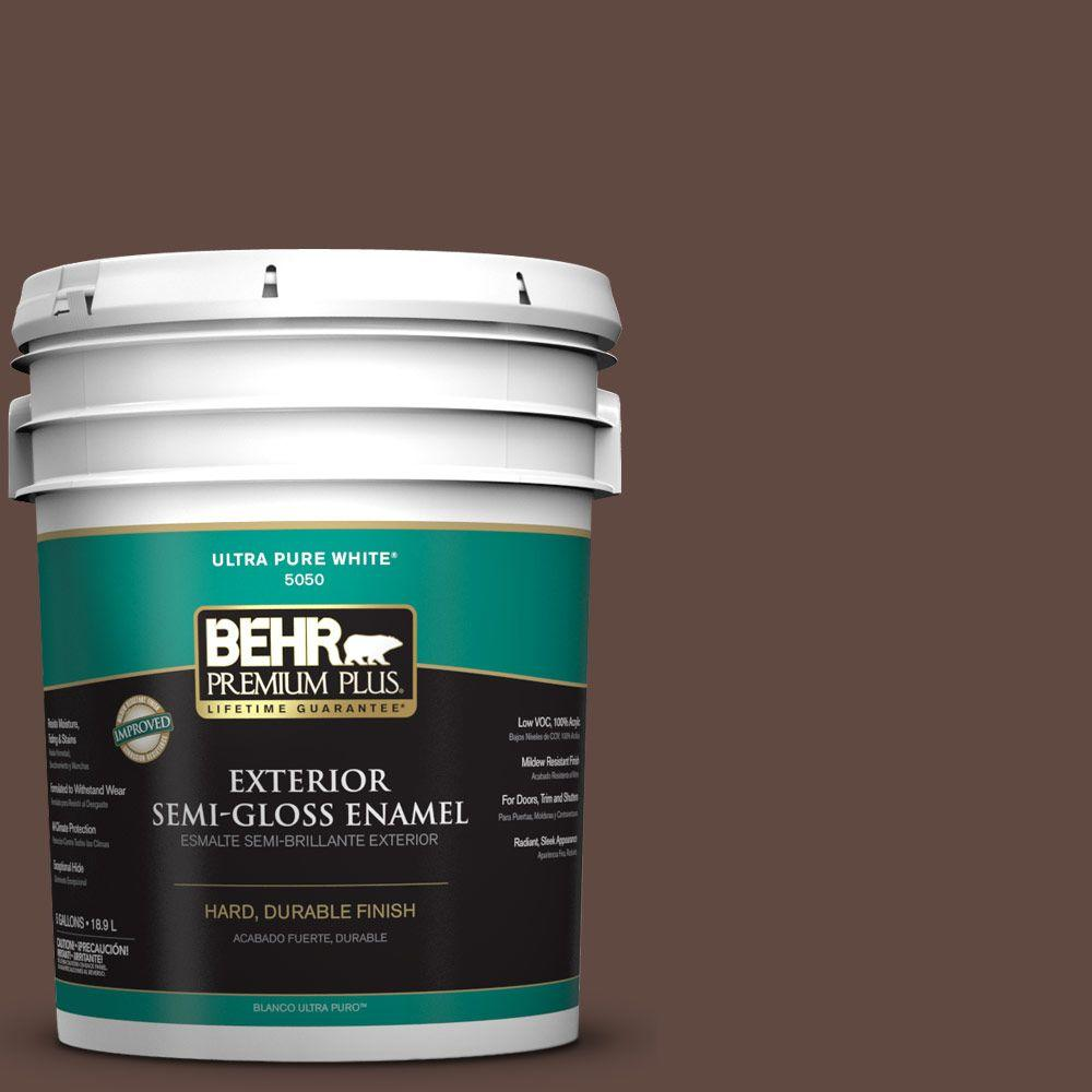 5-gal. #N150-7 Chocolate Therapy Semi-Gloss Enamel Exterior Paint