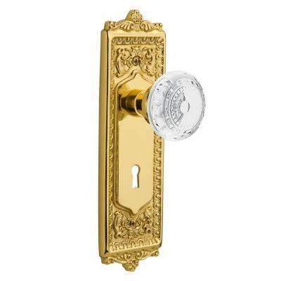 Egg and Dart Plate Interior Mortise Crystal Meadows Door Knob in Unlacquered Brass
