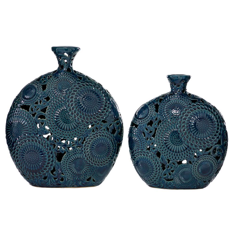 Blue Stoneware Eclectic Decorative Vase (Set of 2)