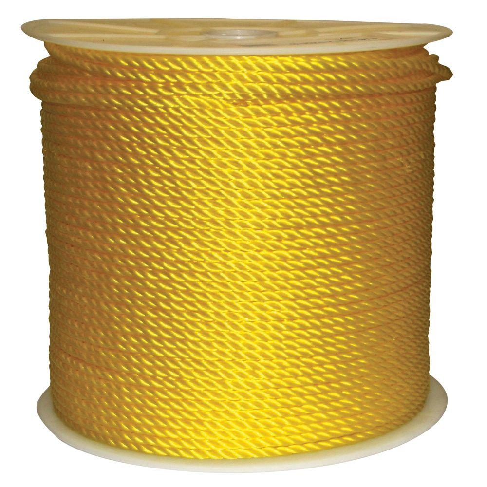 Rope King 1/4 in. x 1200 ft. Twisted Poly Rope Yellow