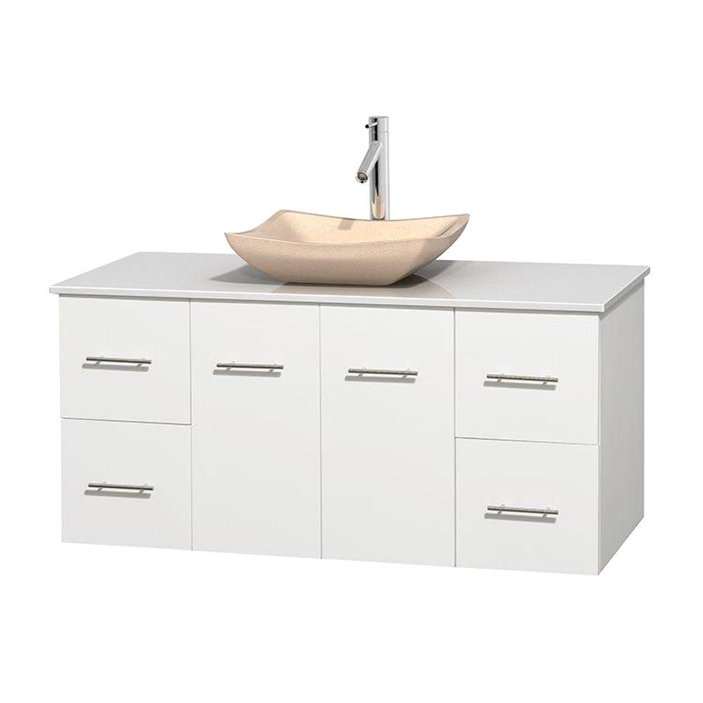 Wyndham Collection Centra 48 in. Vanity in White with Solid-Surface Vanity Top in White and Sink
