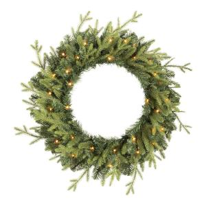 30 in Elegant Battery Operated Noble Fir LED Pre-Lit Artificial Wreath with Timer and 35 Micro Dot Lights