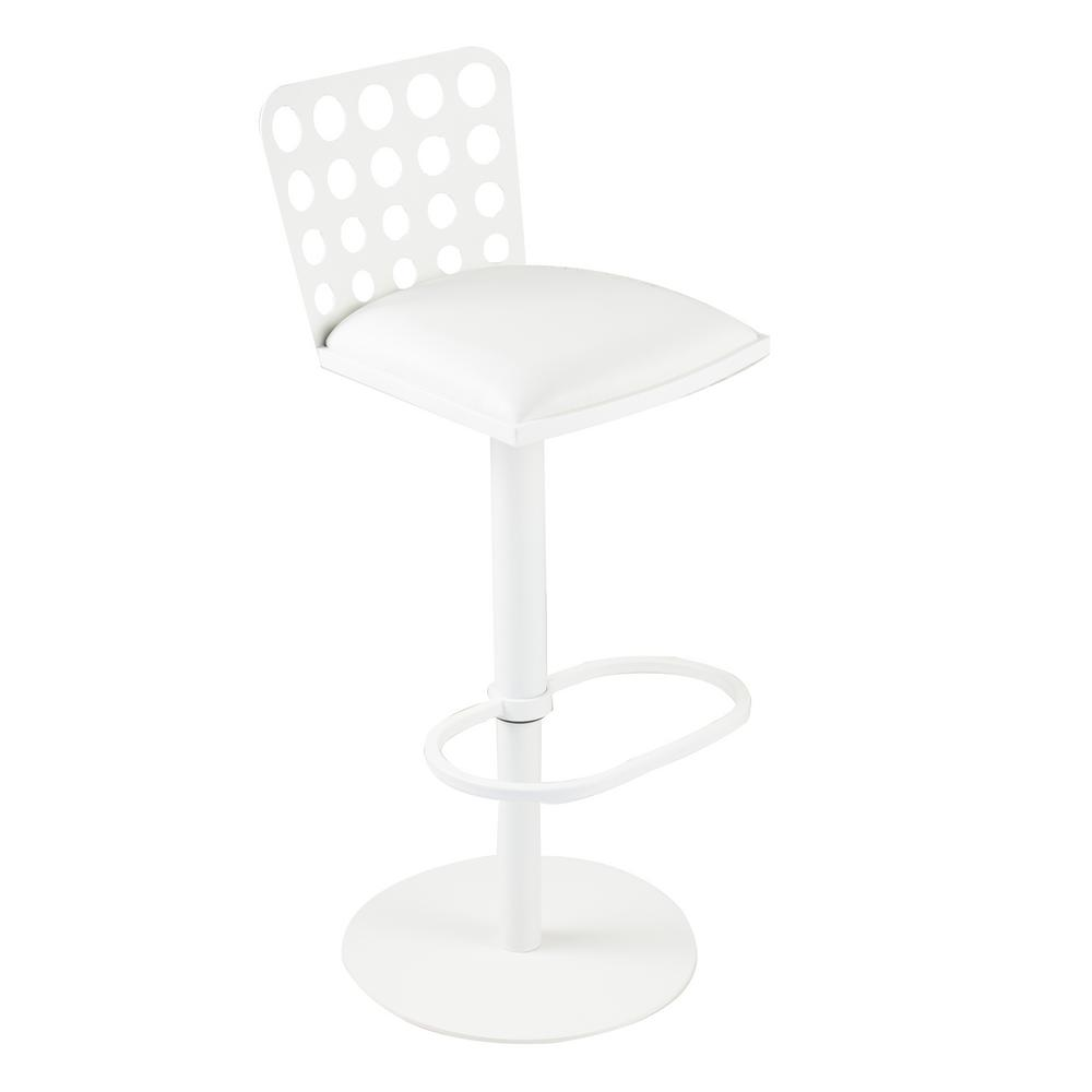 Armen Living Dune 31 In. White Faux Leather And White Metal Finish  Contemporary Barstool