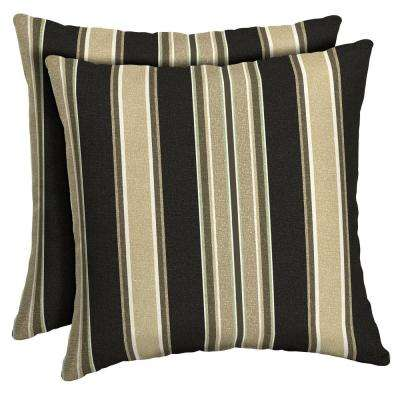 Sandstone Aurora Stripe Reversible Square Outdoor Throw Pillow (2-Pack)