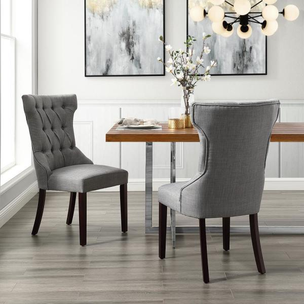 Inspired Home Ximena Light Grey Linen Button Tufted Armless Dining Chair
