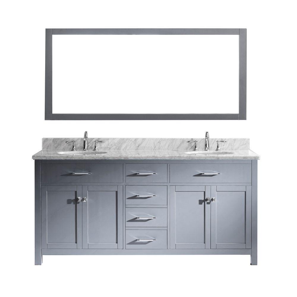 Virtu USA Caroline 72 in. W Bath Vanity in Gray with Marb...