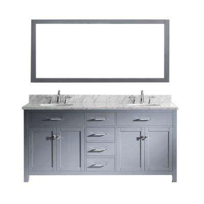Caroline 72 in. W x 36 in. H Vanity with Marble Vanity Top in Carrara White with White Round Basin and Mirror