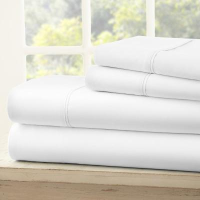3-Piece White Solid Microfiber Twin Sheet Set