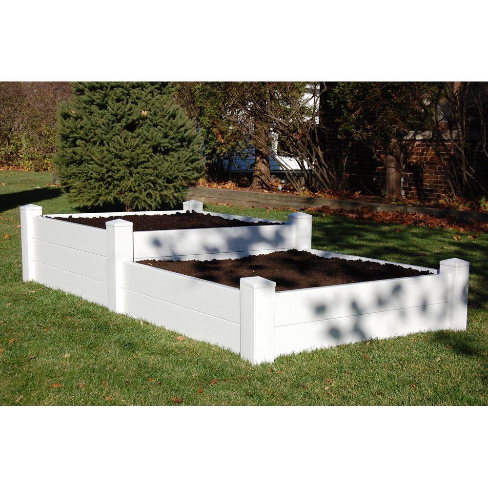 96 in. x 48 in. x 14/19 in. H White Vinyl Split Level Raised Garden Bed Bed