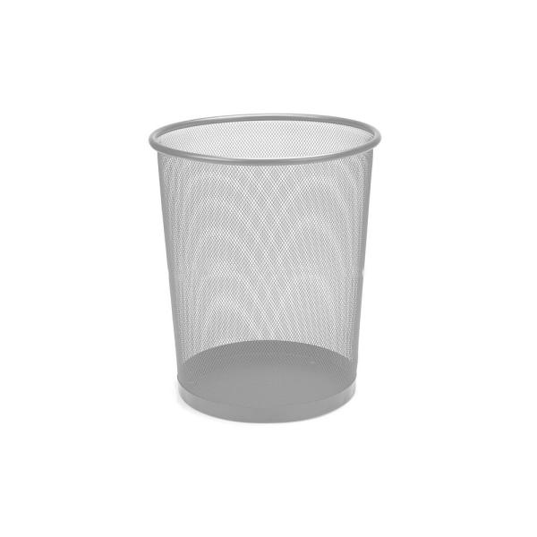 3 Gal. Silver Round Open Metal Trash Can