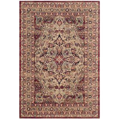 Lavar Kerman Cream/Red 5 ft. 1 in. x 7 ft. 6 in. Area Rug