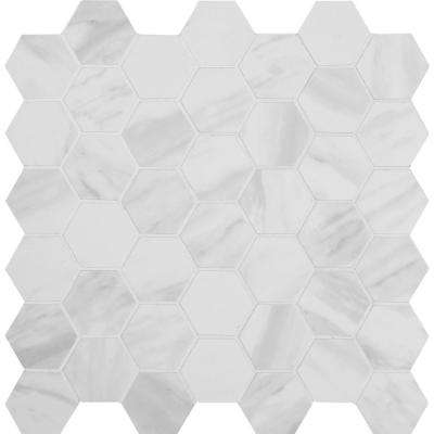 Kolasus White Hexagon 12 in. x 12 in. x 10mm Matte Glazed Porcelain Mesh-Mounted Mosaic Tile (8 sq. ft. / case)