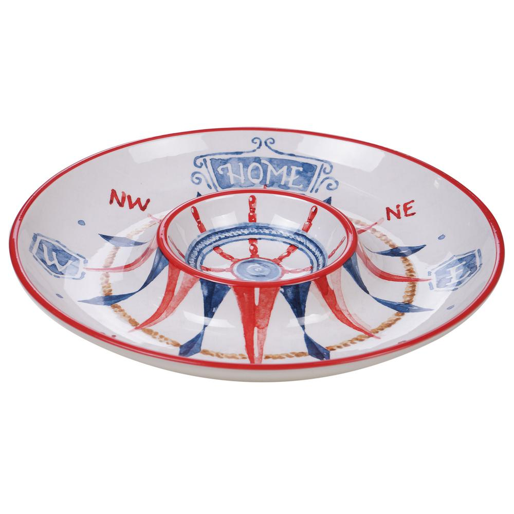 13.75 in. Nautical Life Multi-Colored Chip & Dip