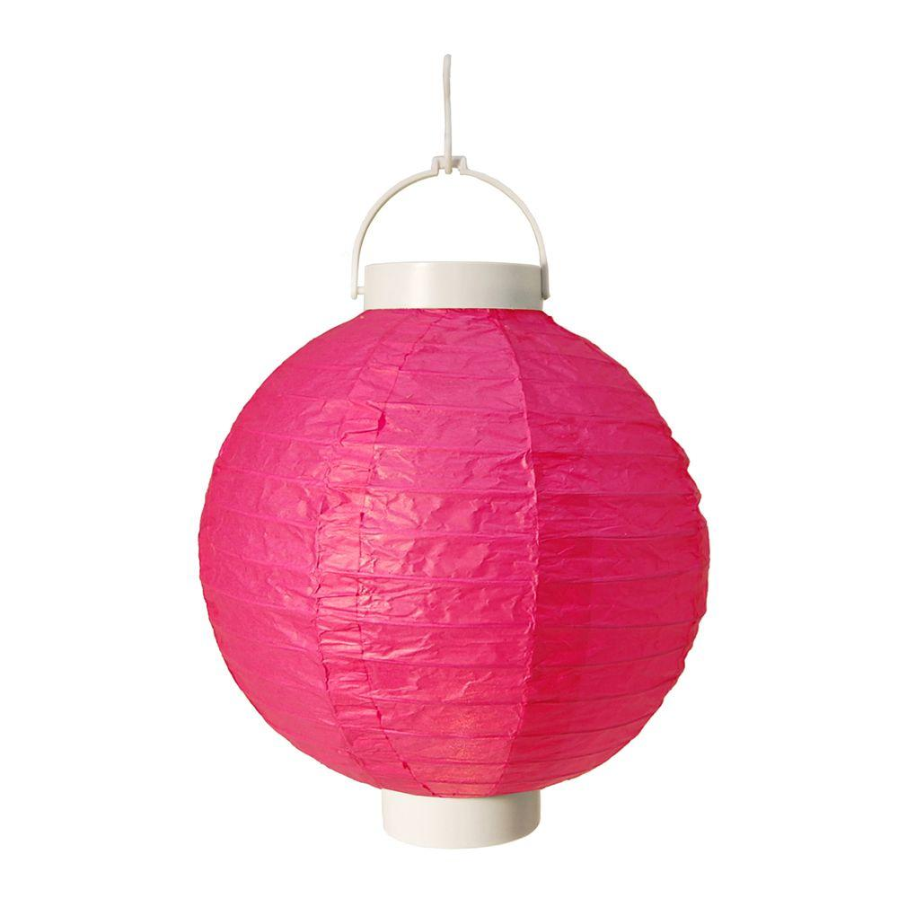 Lumabase Battery Operated Paper Lantern In Fuchsia 3 Count