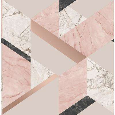 56.4 sq. ft. Elvira Pink Marble Geometric Wallpaper