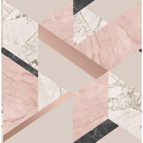 Fine Decor 56.4 sq. ft. Elvira Pink Marble Geometric Wallpaper 2900-42053