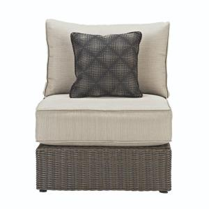 Naples Brown All Weather Wicker Armless Middle Outdoor Sectional Chair With  Putty Cushions · Home Decorators ...