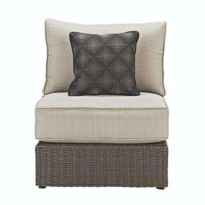 Naples All-Weather Dark Wicker Armless Patio Sectional Chair with Putty Cushions