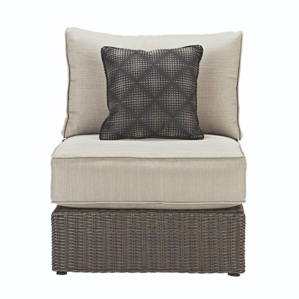 Naples Brown All-Weather Wicker Armless Middle Outdoor Sectional Chair with