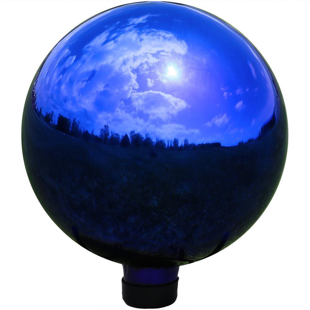 10 in. Blue Mirrored Surface Outdoor Garden Gazing Ball Globe