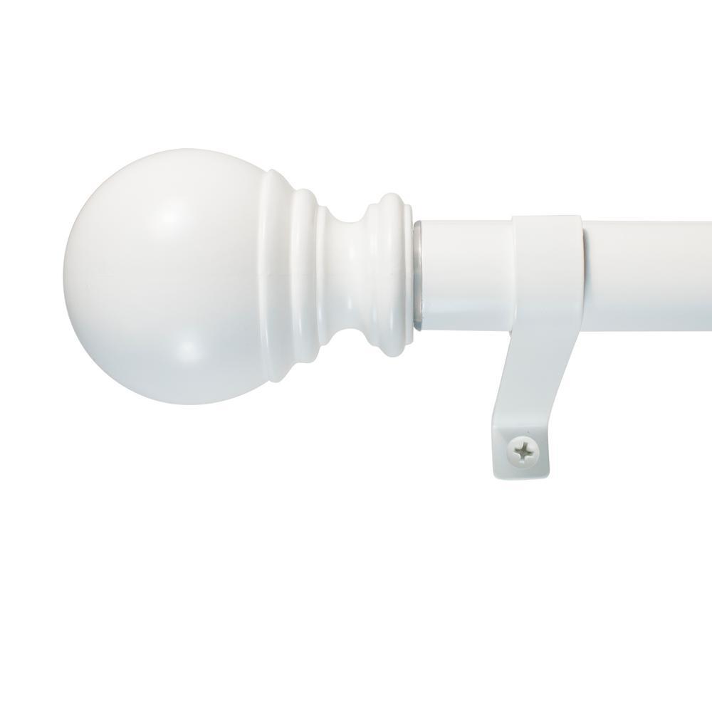 Decopolitan 36 in. - 72 in. Ball Telescoping 1 in. Dia Single Rod Set in White