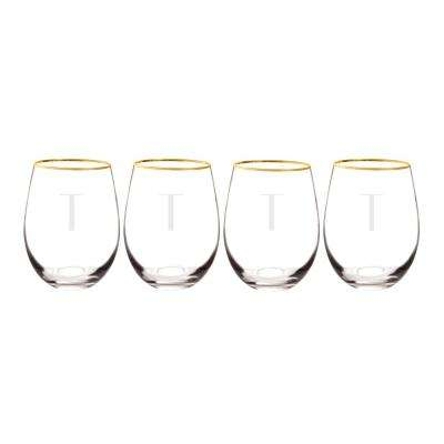 Personalized Gold Rim Stemless Wine Glasses - T