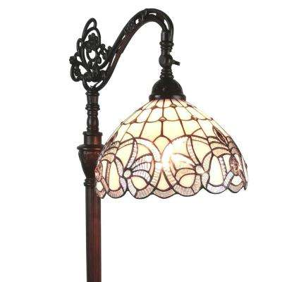 62 in. White Tiffany Style Floral Design Reading Floor Lamp